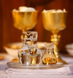 Holy Water, Wine and Wafers of the Eucharist