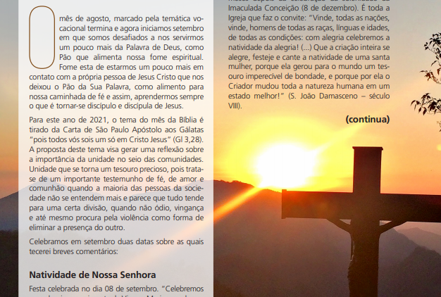"""Boletim Informativo """"O Senhor Te Dê a Paz"""" 106 - setembro/2021"""