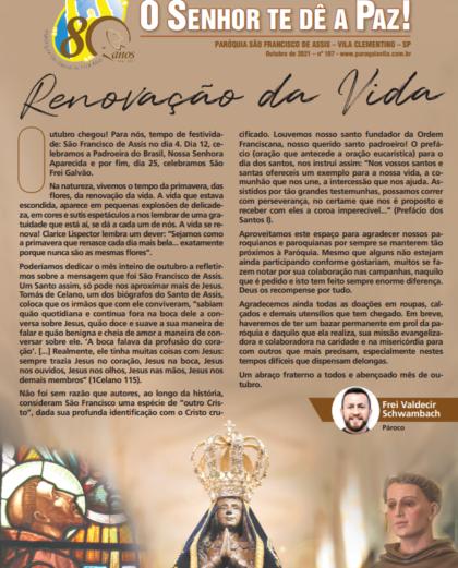 """Boletim Informativo """"O Senhor Te Dê a Paz"""" 107 – outubro/2021"""